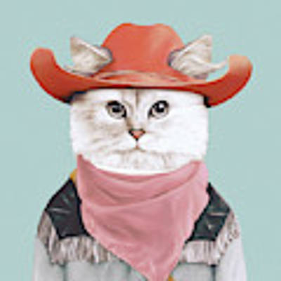 Rodeo Cat Poster by Animal Crew