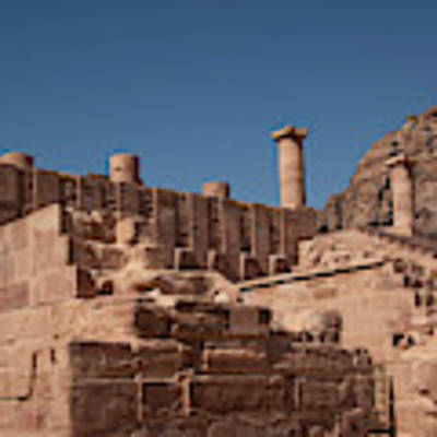 Roman Temple In Petra Poster by Mae Wertz