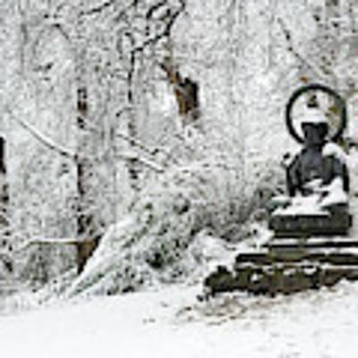 Snow Buddha Batsford Arboretum Poster by Tim Gainey