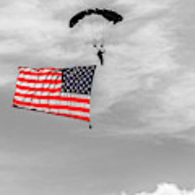 Socom Flag Jump In Selective Color Poster by Doug Camara