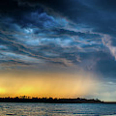 Sunrise Storm Pano Poster by Jeff Phillippi