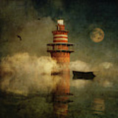 The Lonely Lighthouse In The Fog With Full Moon Poster by Jan Keteleer
