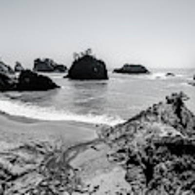The Oregon Coast In Black And White Poster by Margaret Pitcher