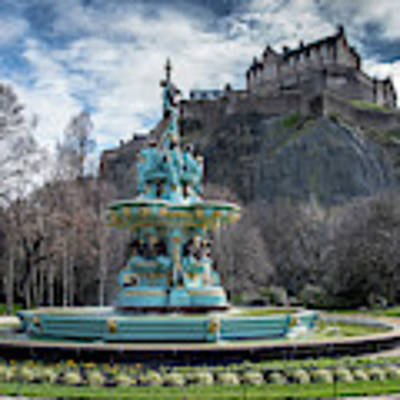 The Ross Fountain And Edinburgh Castle Poster by Ross G Strachan