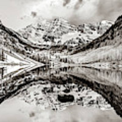 Wide Angle Maroon Bells Panoramic Landscape - Sepia Poster by Gregory Ballos