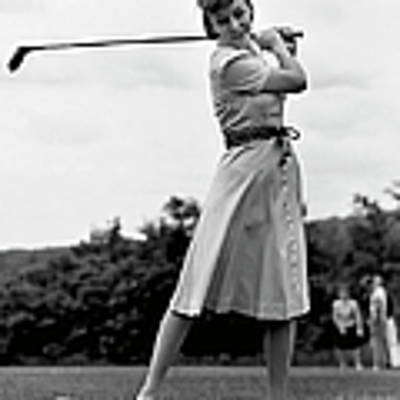 Woman Golfing Poster by George Marks