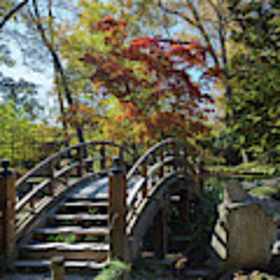 Wooden Bridge In Japanese Garden Poster by Jemmy Archer