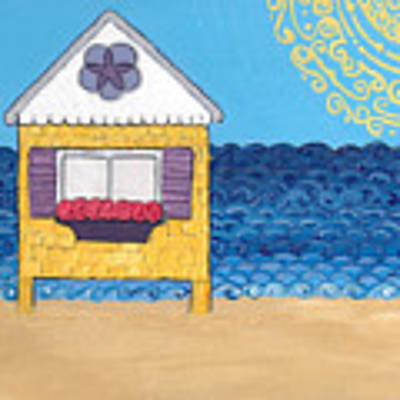 Yellow Cottage On The Beach Poster by Caroline Sainis