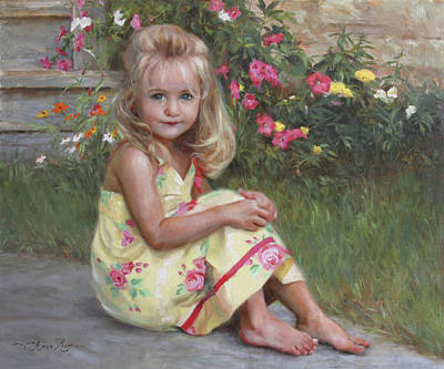 Child With Flowers Art