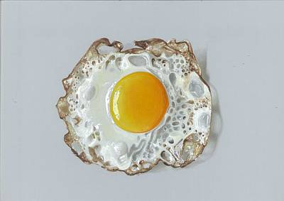Painting -  Realistic Drawing Half Fried Egg by Sushant S Rane
