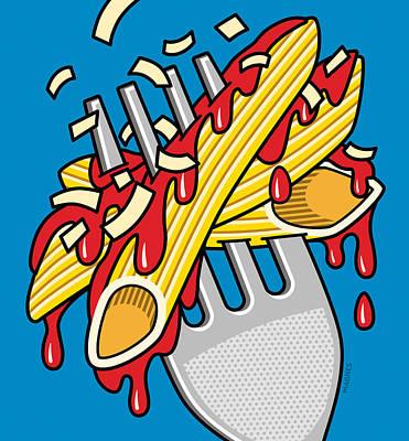 Spaghetti Noodles Digital Art Prints