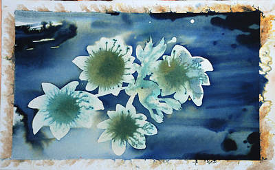 Blue Flowers Ink Dreamy Dream Blossom Paintings