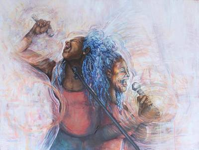 Painting - When the Spirit Moves by Shuanteya Sherman