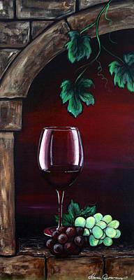 Red Wine On Shelf Original Artwork