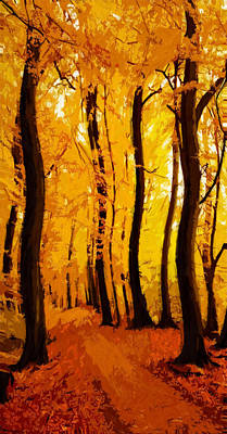 Swing Swinging Autumn Tree Trees Leaves Yellow Red Indian Summer Path Wood Art