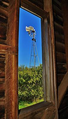 Photograph - Window Frame Art Of Windmill At An Abandoned Farm by Greg Rud