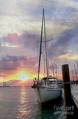 Sailboats Docked Mixed Media Prints