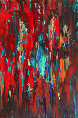 Red Green And Gold Abstracts Paintings