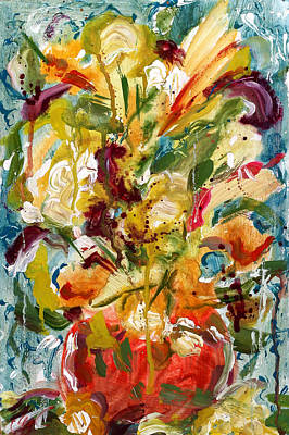 Red Vase And Flowers. Splatters Drips And Splashes Paintings