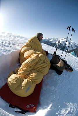 Designs Similar to Man In Sleeping Bag On Summit