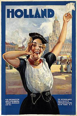 Dutch 1940/'s Milk Vintage Poster Print Retro Art Cartoon Cow Milk Advertising