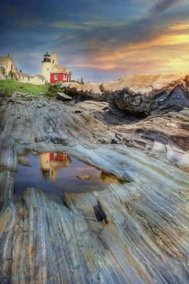 New England Lighthouse Mixed Media Prints