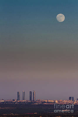 Photograph - The skyscrapers and the moon by JoseAngel Izquierdo