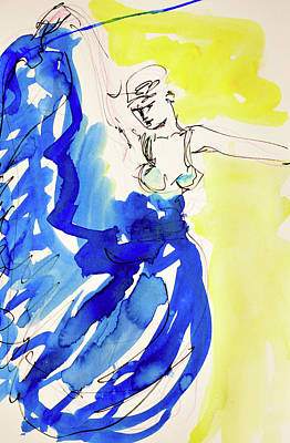 Painting - Dancer in blue by Amara Dacer