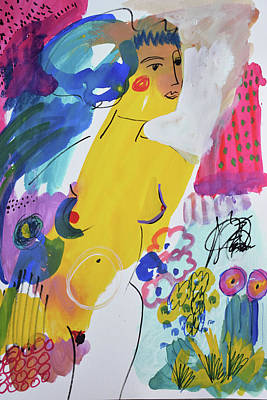 Painting - Nude in a garden by Amara Dacer