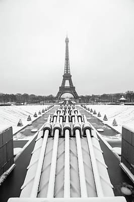 Photograph - Eiffel tower in winter by Philippe Lejeanvre