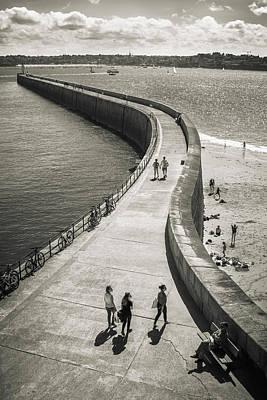 Photograph - Big pier in Saint Malo, Brittany, monochrome by Sasha Samardzija