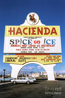 Photograph - Hacienda Casino Marquee Sign Spice on Ice 1977 by Aloha Art