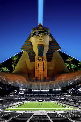 Photograph - Luxor Casino Las Vegas Raiders Stadium Eye Patch on Sphinx at Dusk by Aloha Art