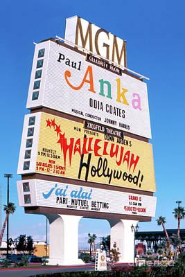 Photograph - MGM Grand Casino Marquee Sign Paul Anka 1977 by Aloha Art