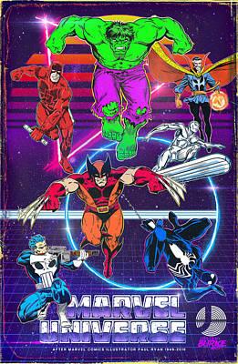 Digital Art - Retro Marvel Universe by Joseph Burke