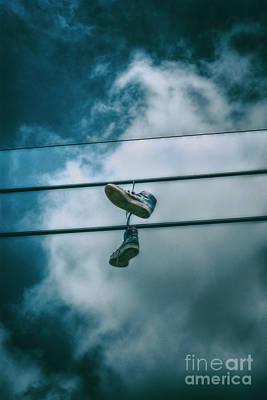 Digital Art - Shoes on a Wire by Nigel Bangert