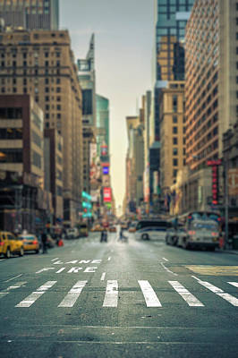 Photograph - Tilt-shift view of a crosswalk in a New-York city avenue by Philippe Lejeanvre