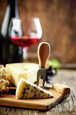 Photograph - Wine and cheese. French cuisine. by Jelena Jovanovic