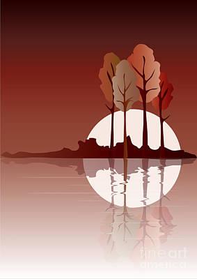 Fall Bushes Digital Art