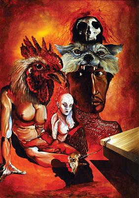 Woodoo Otto Rapp Fantastic Realism Surrealism Skull Wolf Chicken Magic Paintings