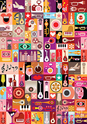 Designs Similar to Art Collage, Musical Vector