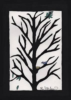 Bluebird In A Pear Tree Prints