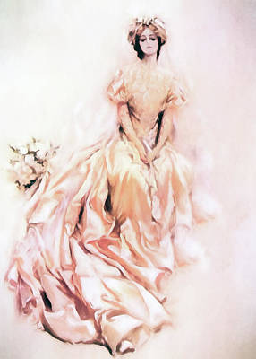 Satin Dress Mixed Media Prints