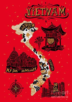 Designs Similar to Illustrated Map Of Vietnam