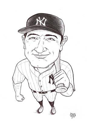 Lou Gehrig Drawings Original Artwork