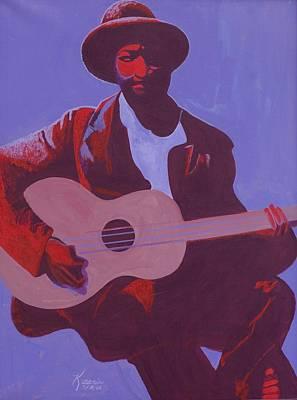 Black Man Playing Guitar Paintings