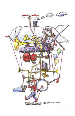 Drawing - Steam and Helium Orchestraption by Eric Haines