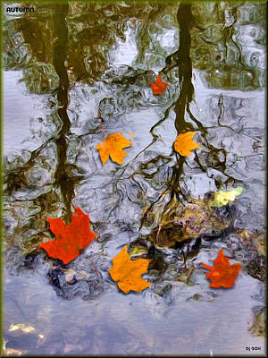 Reflections Of Trees In River Digital Art Prints