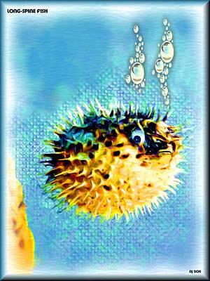 Long Spine Porcupine Fish Digital Art