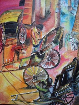 Hand Pulling Rickshaw Mixed Media Original Artwork